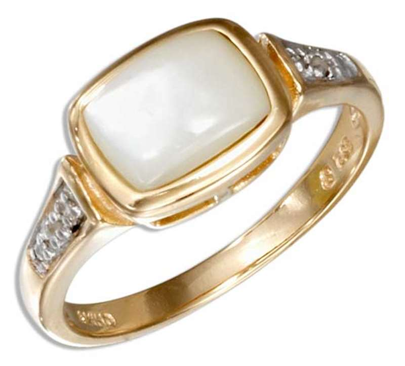 Gold Vermeil Mother Of Pearl Ring