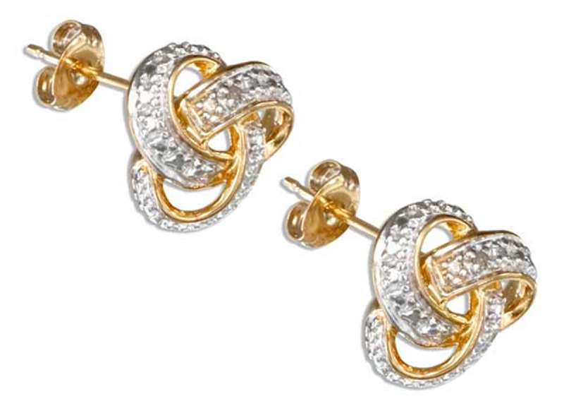 Gold Vermeil Rose Cut Illusion Knot Post Earrings Diamond C