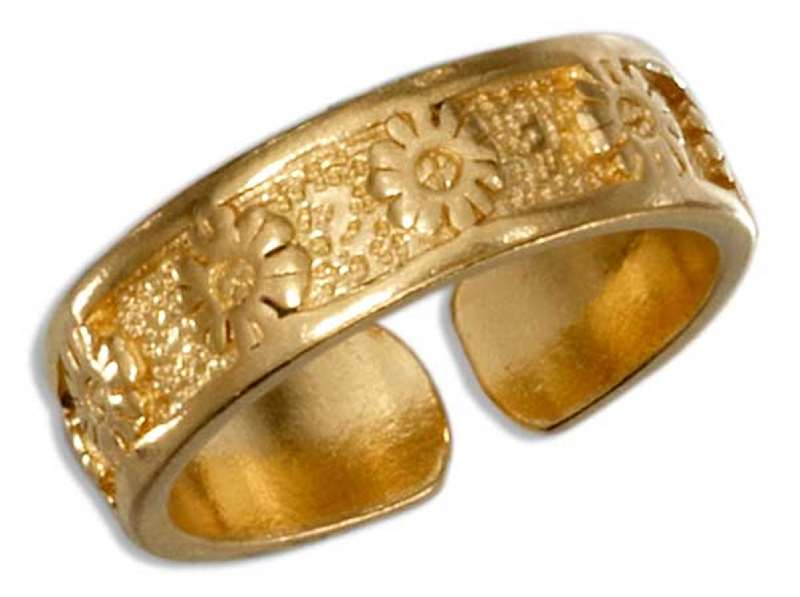 Gold Vermeil Flowers Toe Ring