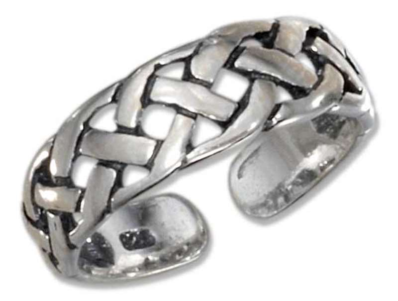 Sterling Silver Men's Celtic Weave Adjustable Toe Ring