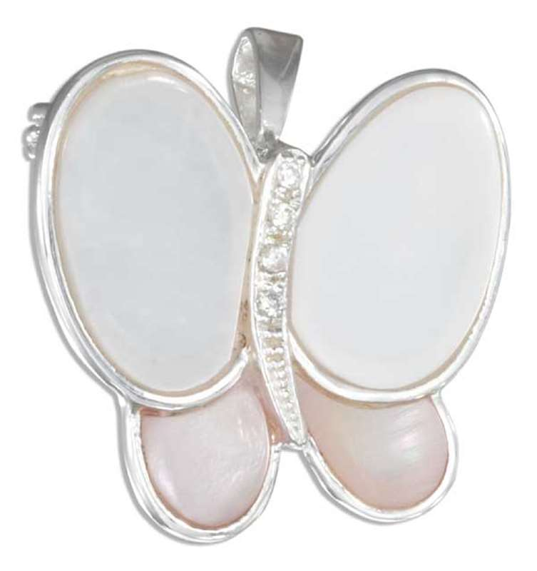 Mother Of Pearl Cubic Zirconia Butterfly Brooch Pin Or Pendant