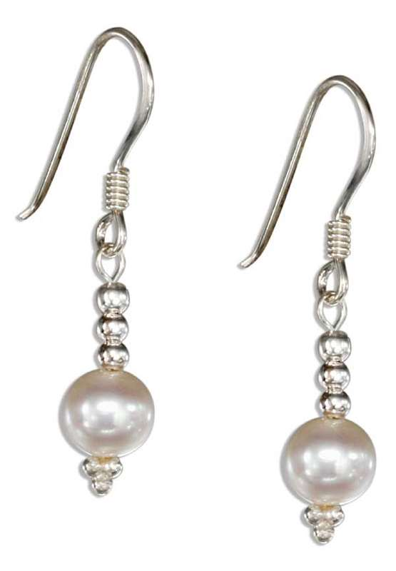 White Freshwater Pearl Triple Bead Earrings