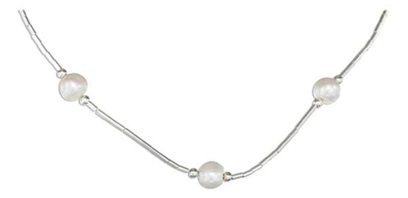 Freshwater Pearls White Liquid Silver Choker Necklace