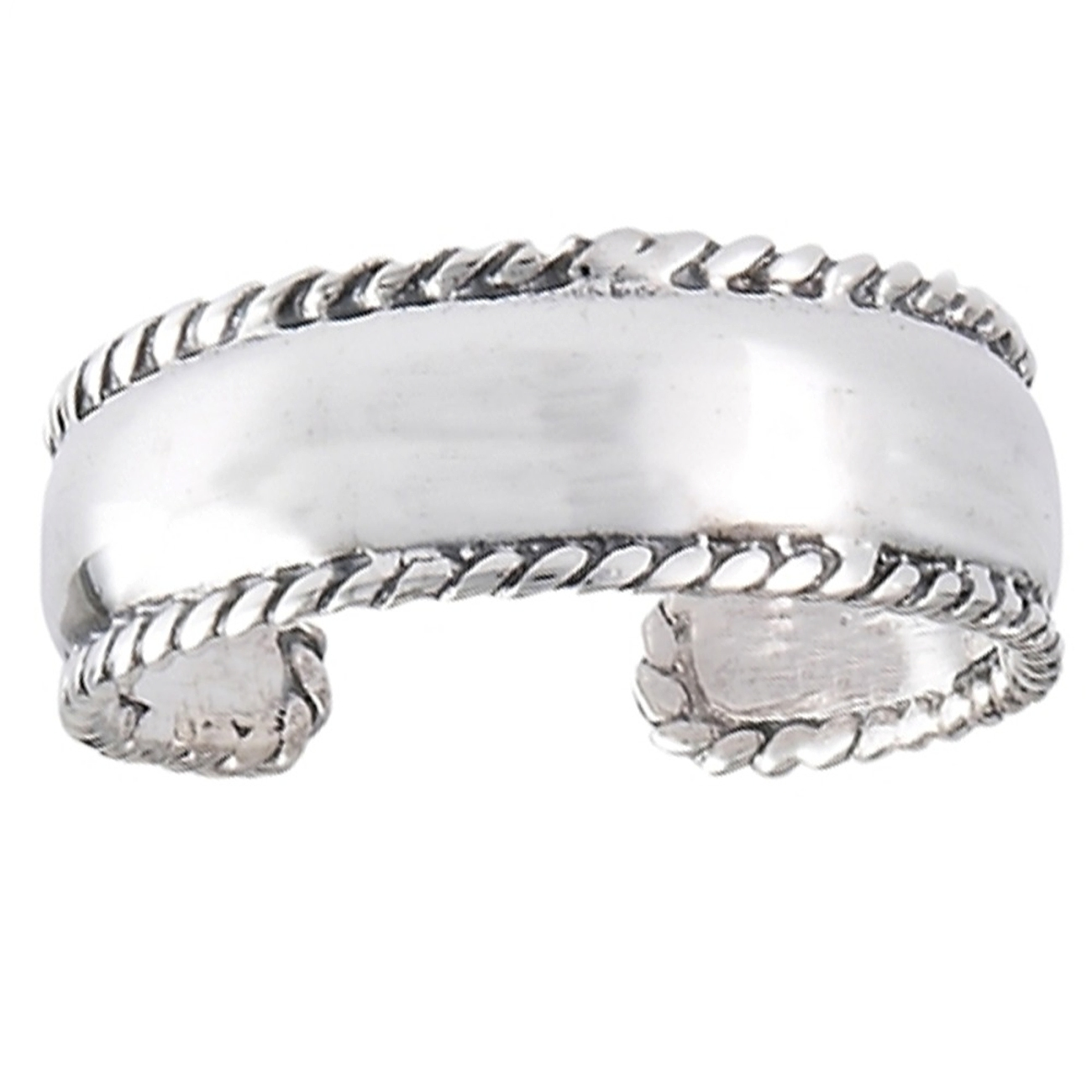 Sterling Silver Men's Wide Band Roped Edges Plain Adjustable Toe Ring