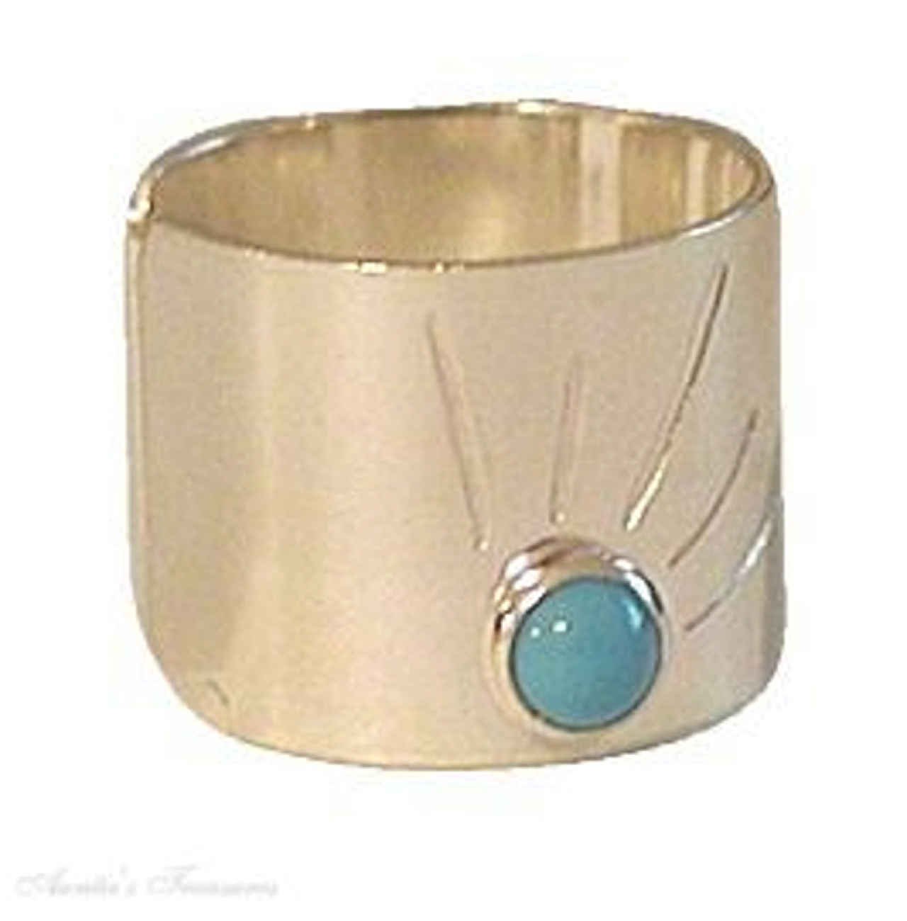 Nonpiercing Wide Flat Turquoise Sun Burst Band Ear Cuff