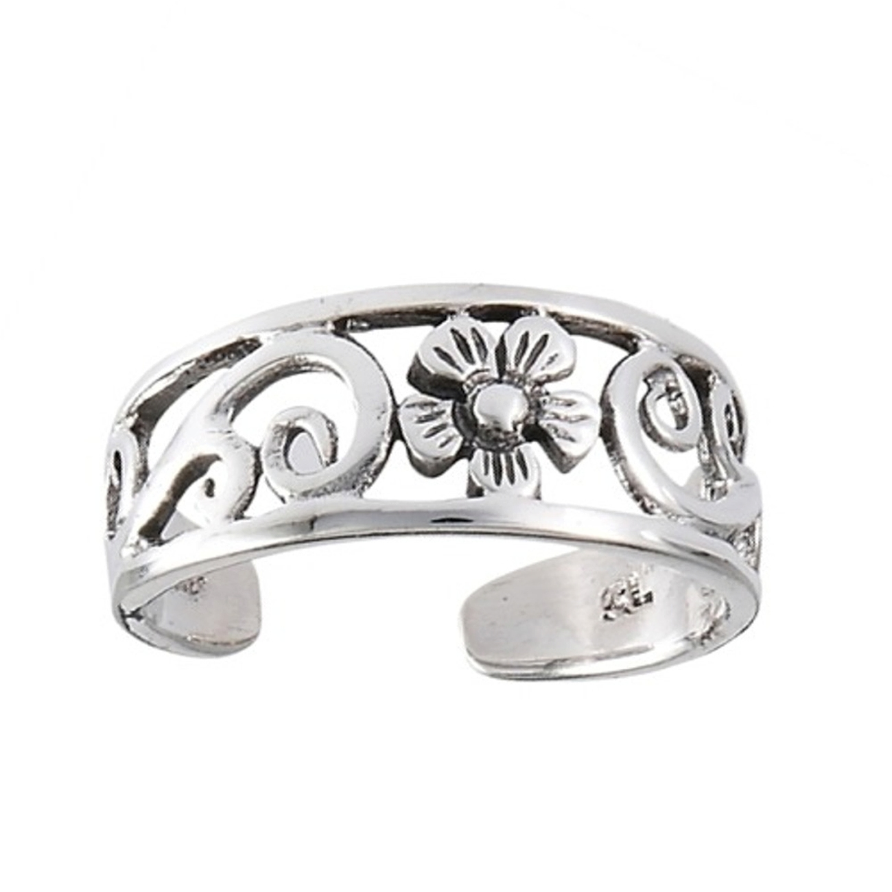 Wide Graduated Open Band Daisy Flower Vine Adjustable Toe Ring