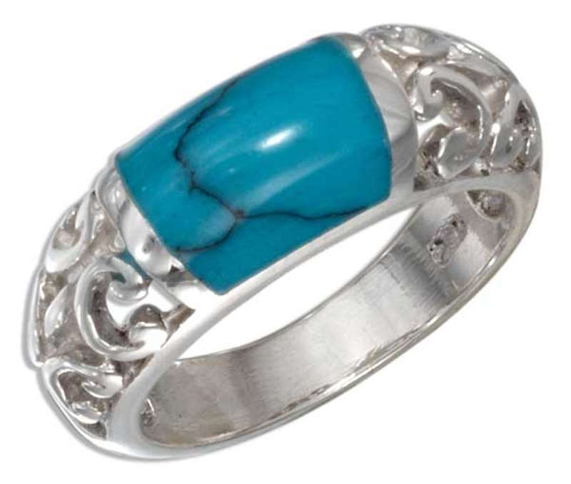 Wide Turquoise Inlay Open Scrolled Ring