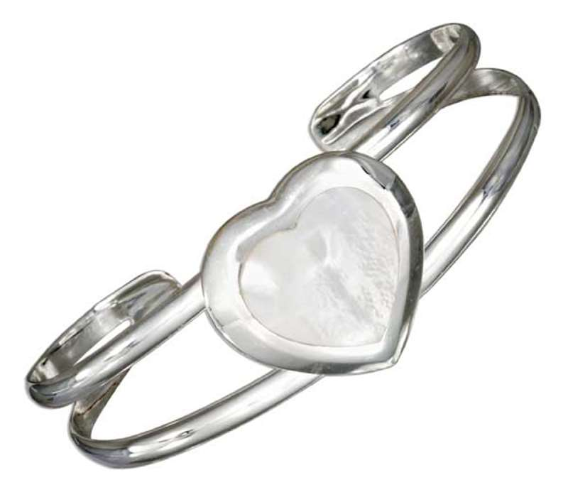 Window Cuff Bracelet Mother Of Pearl Heart
