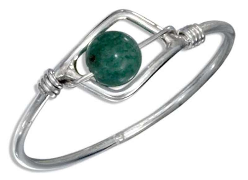 Green Aventurine Bead Wire Ring