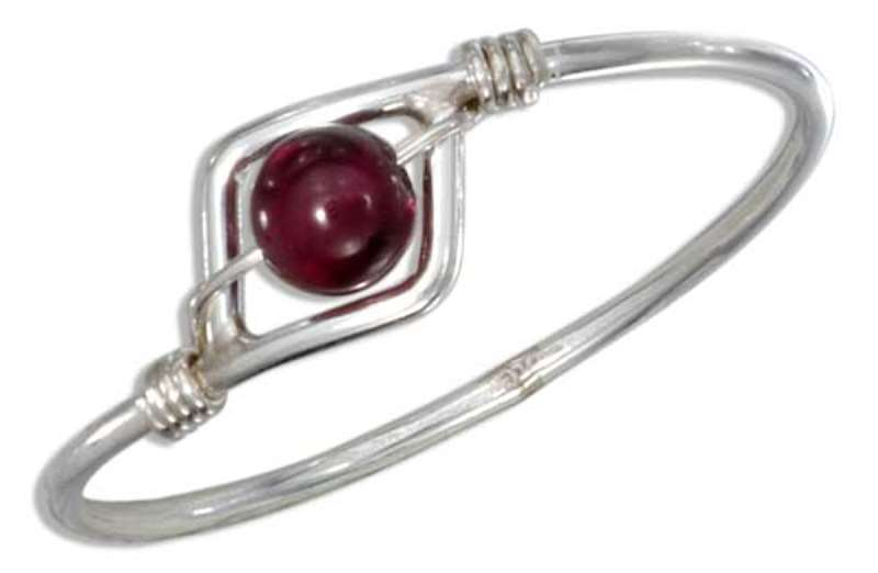 Garnet Bead Wire Ring
