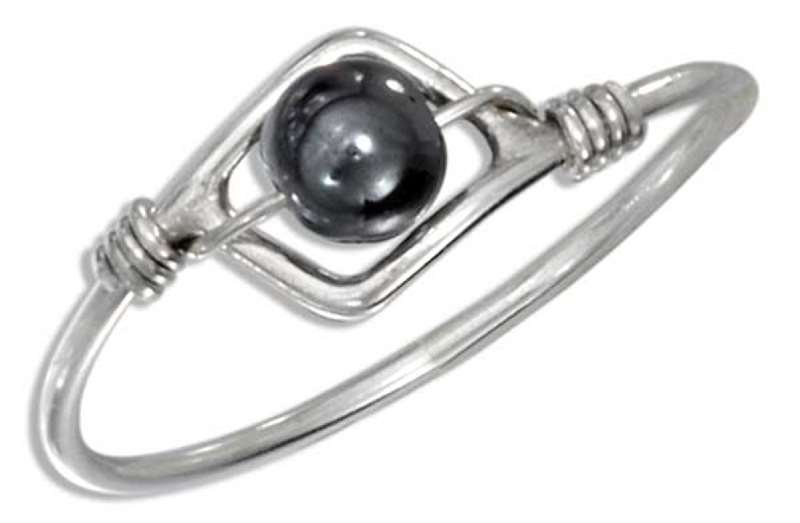 Hematite Bead Wire Ring