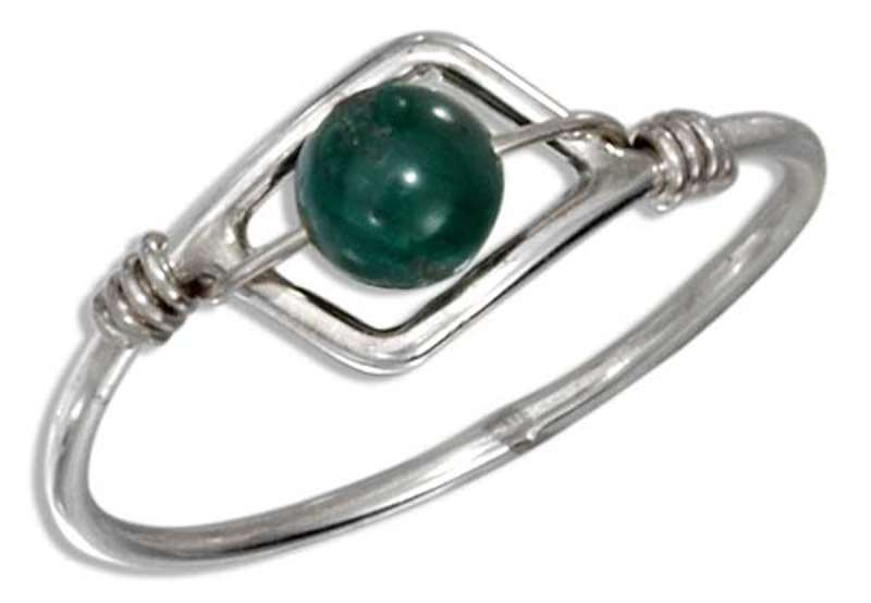 Malachite Bead Wire Ring
