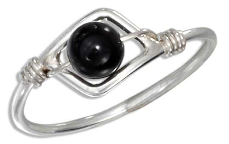 Wire Ring Black Onyx Beads