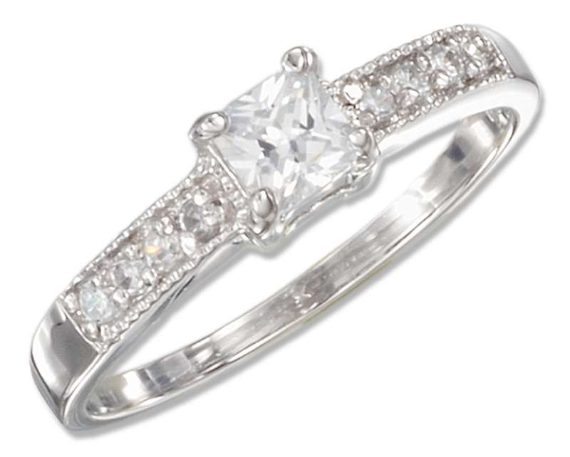 Princess Cut Cubic Zirconia Ring Pave Cubic Zirconia Band