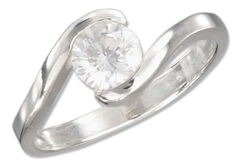Cubic Zirconia Ring Offset S Shaped Band