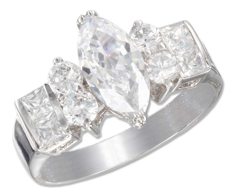 Marquise Cubic Zirconia Ring Princess Cut Side Stones