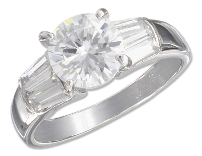 Cubic Zirconia Ring Baguettes On Sides