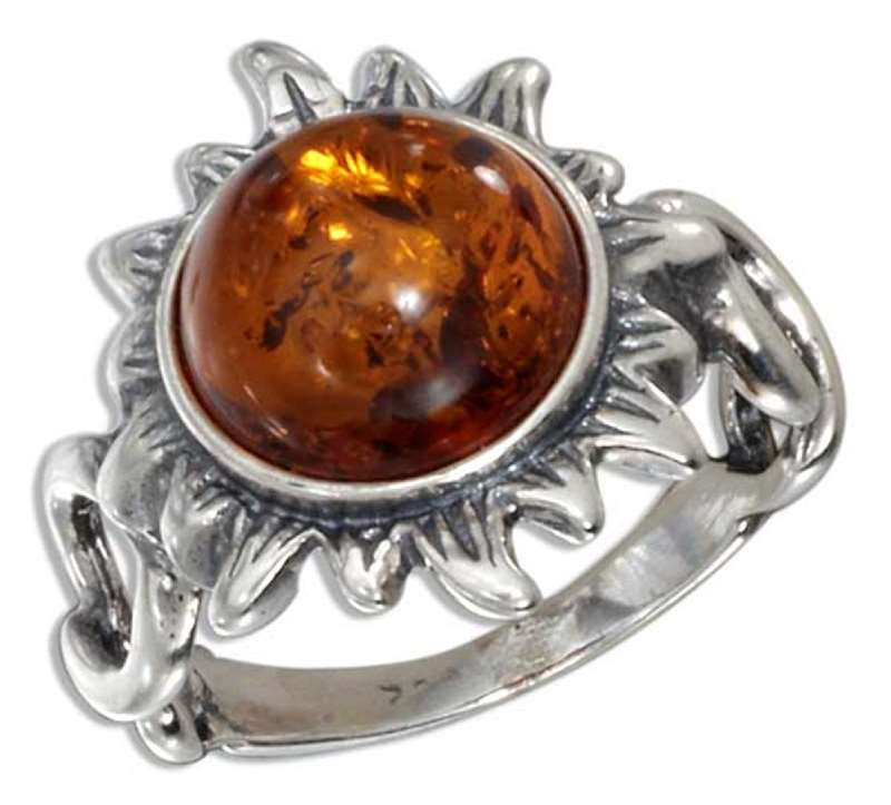 Honey Cognac Amber Sun On A Twisted Shank Ring