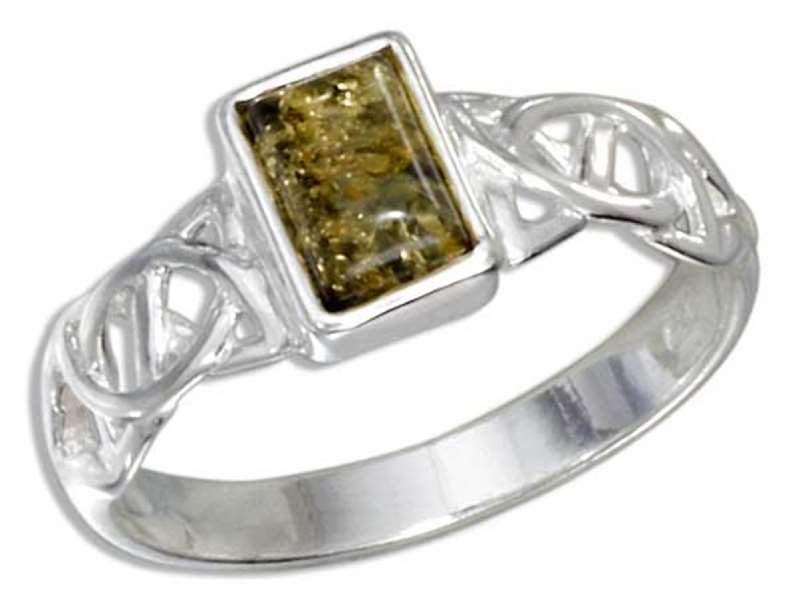 Green Amber Ring Celtic Weave Band