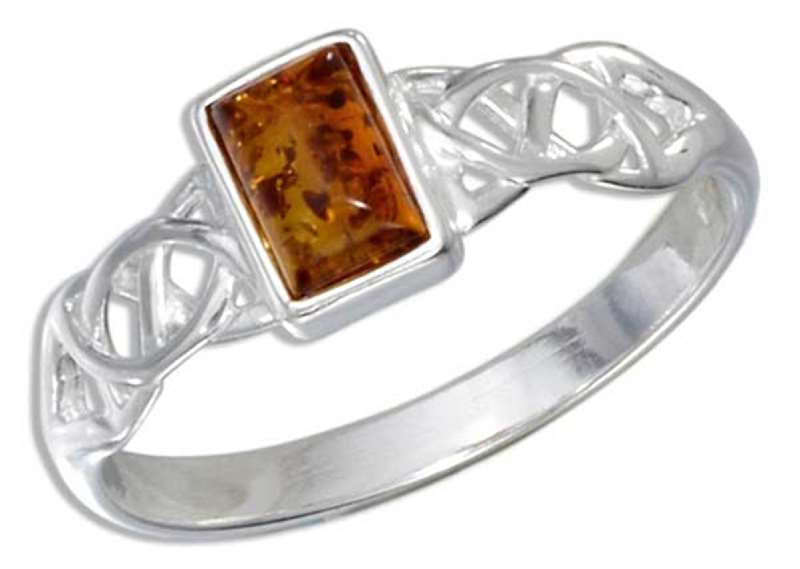 Celtic Weave Honey Cognac Amber Ring