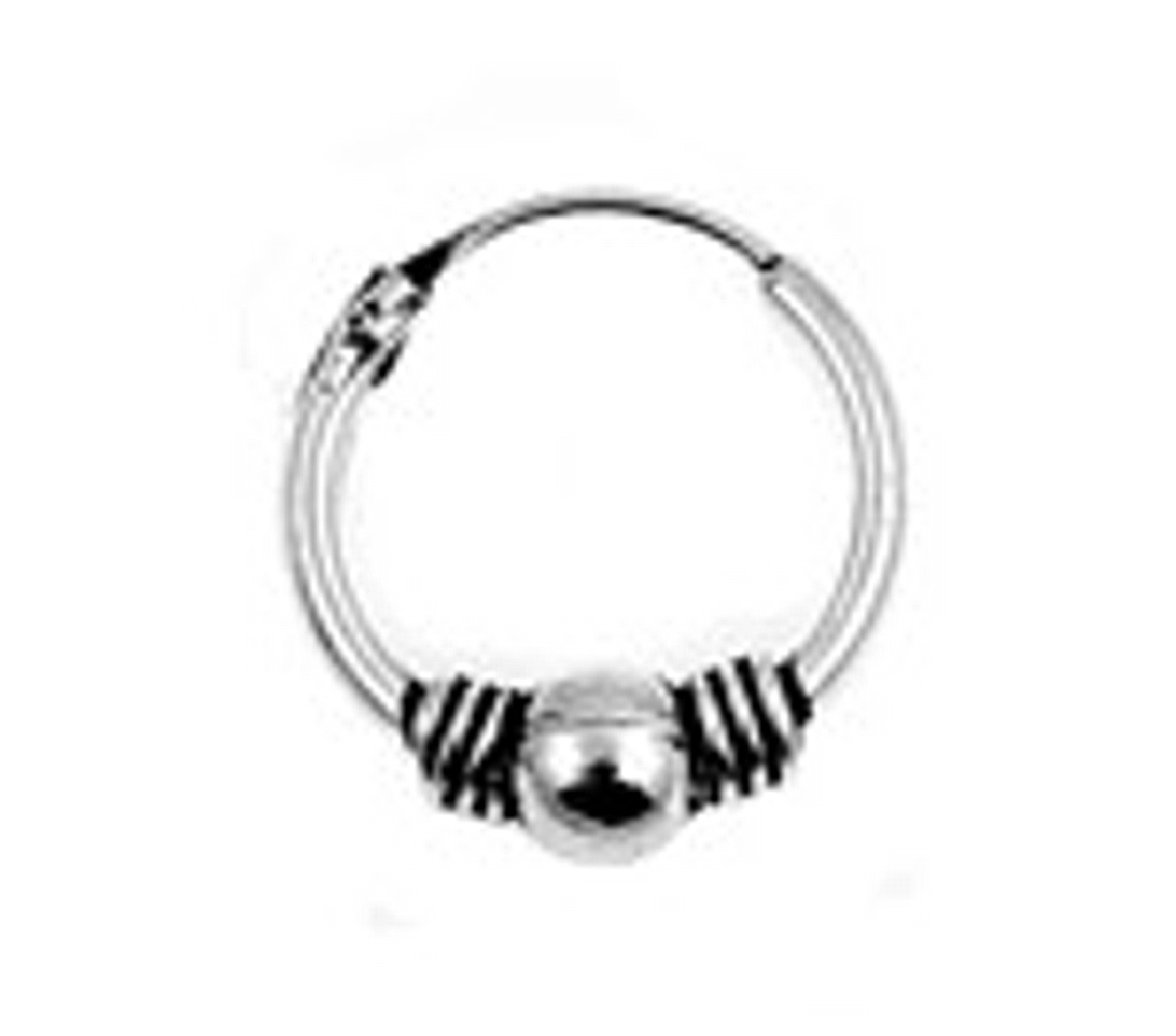 "11.5mm (7/16"") Diameter Wire Ball Tubular Endless Single Hoop Earring"