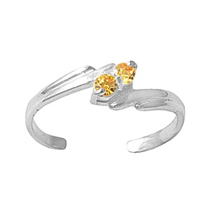 Yellow Citrine Cubic Zirconia Shooting Stars Adjustable Toe Ring
