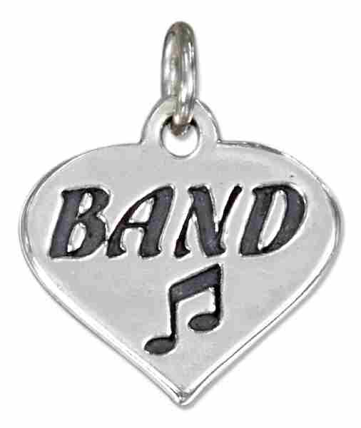 Love BAND Message Heart Charm With Eighth Note