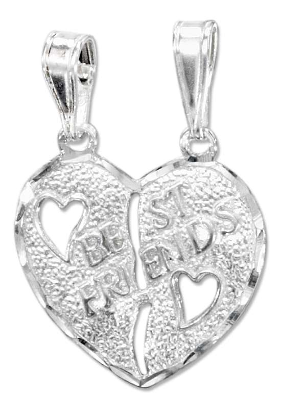 BEST FRIENDS Two Piece Heart Pendant