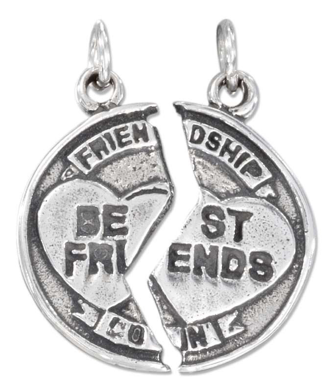 BEST FRIENDS Friendship Coin Two Piece Charm Hearts