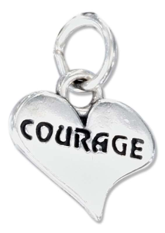 COURAGE Heart Word Charm