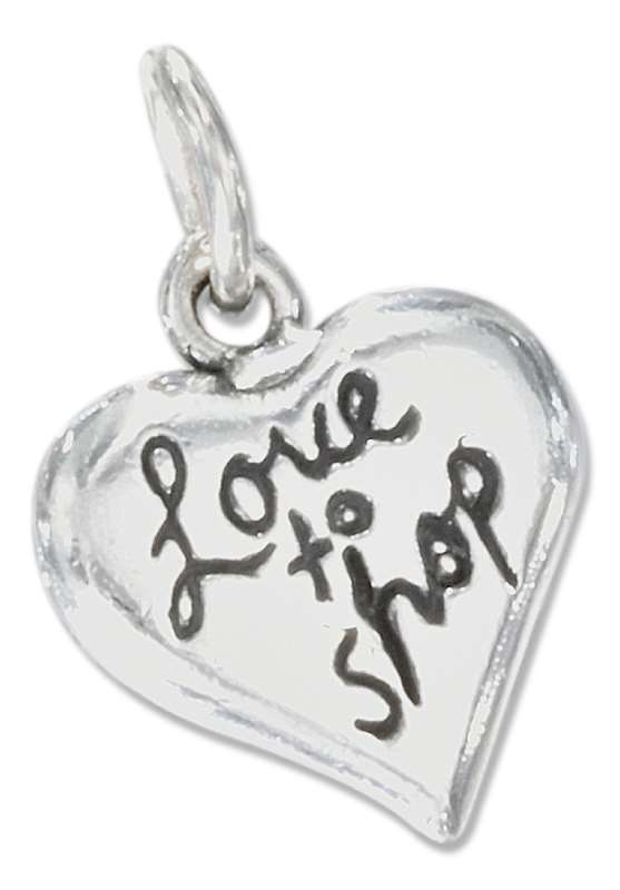 LOVE TO SHOP Heart Word Charm