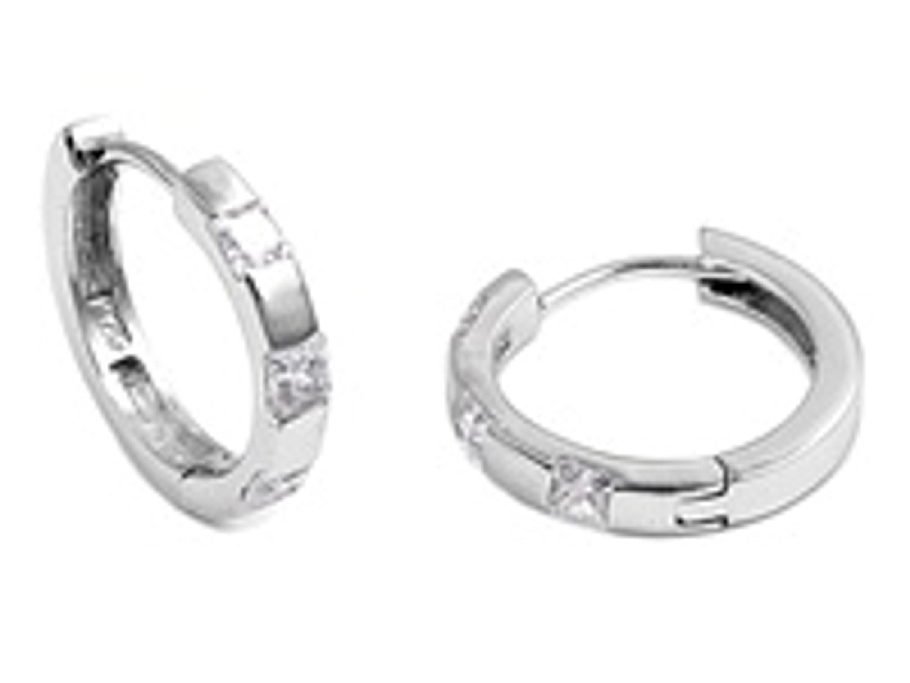 19mm Diameter Three Square Cubic Zirconia Huggie Hoop Earrings