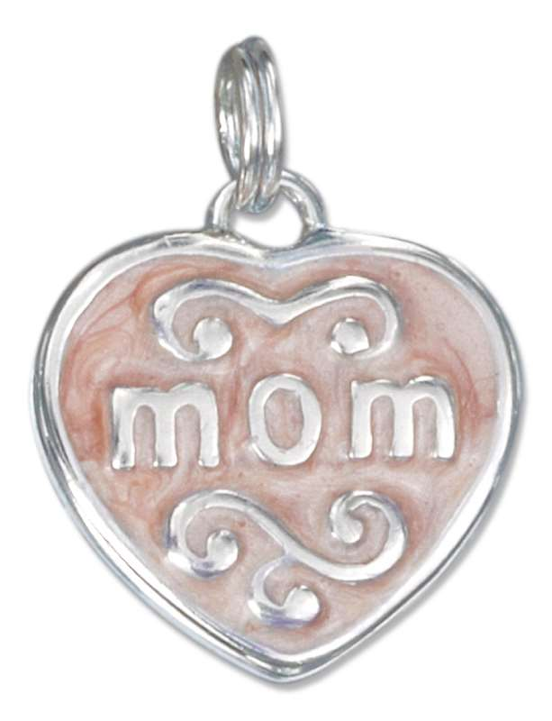 Mom On Enameled Flat Heart Charm
