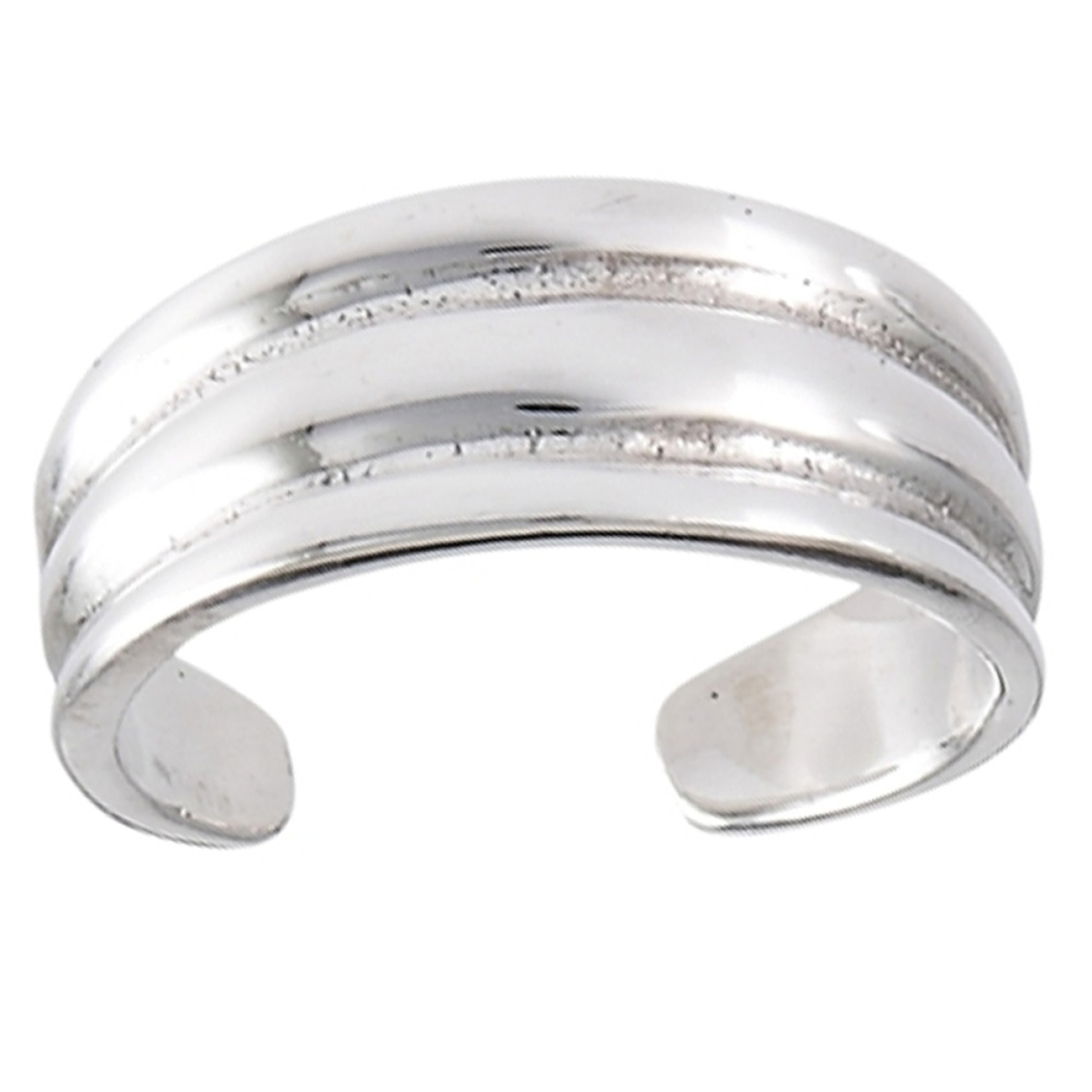 Wide Band Three Ridge Plain Adjustable Toe Ring