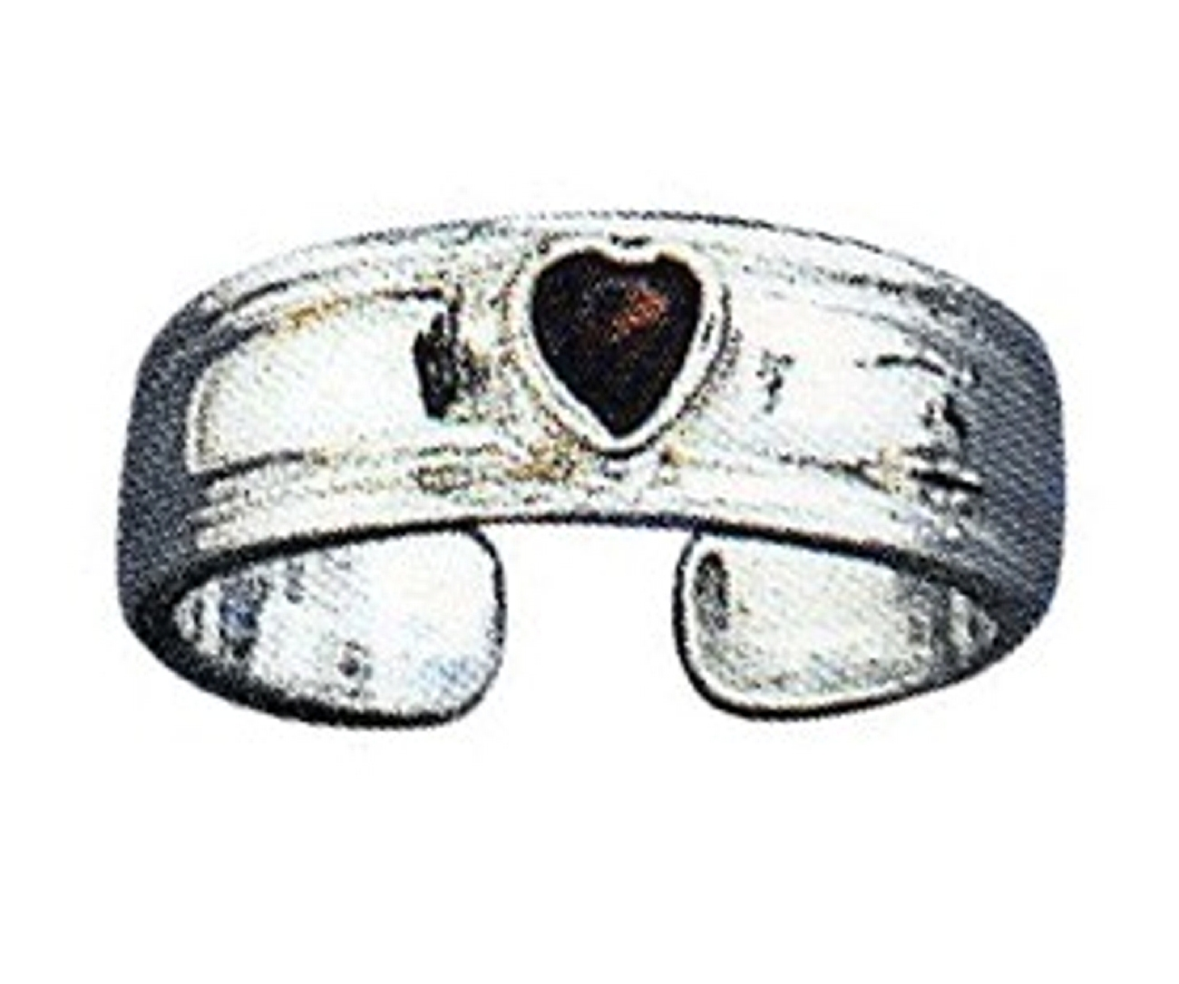 Adjustable Plain Band With Red Garnet Gemstone Heart Toe Ring