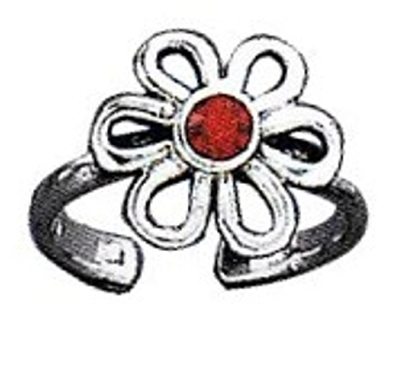 Imitation Garnet Daisy Flower Adjustable Toe Ring