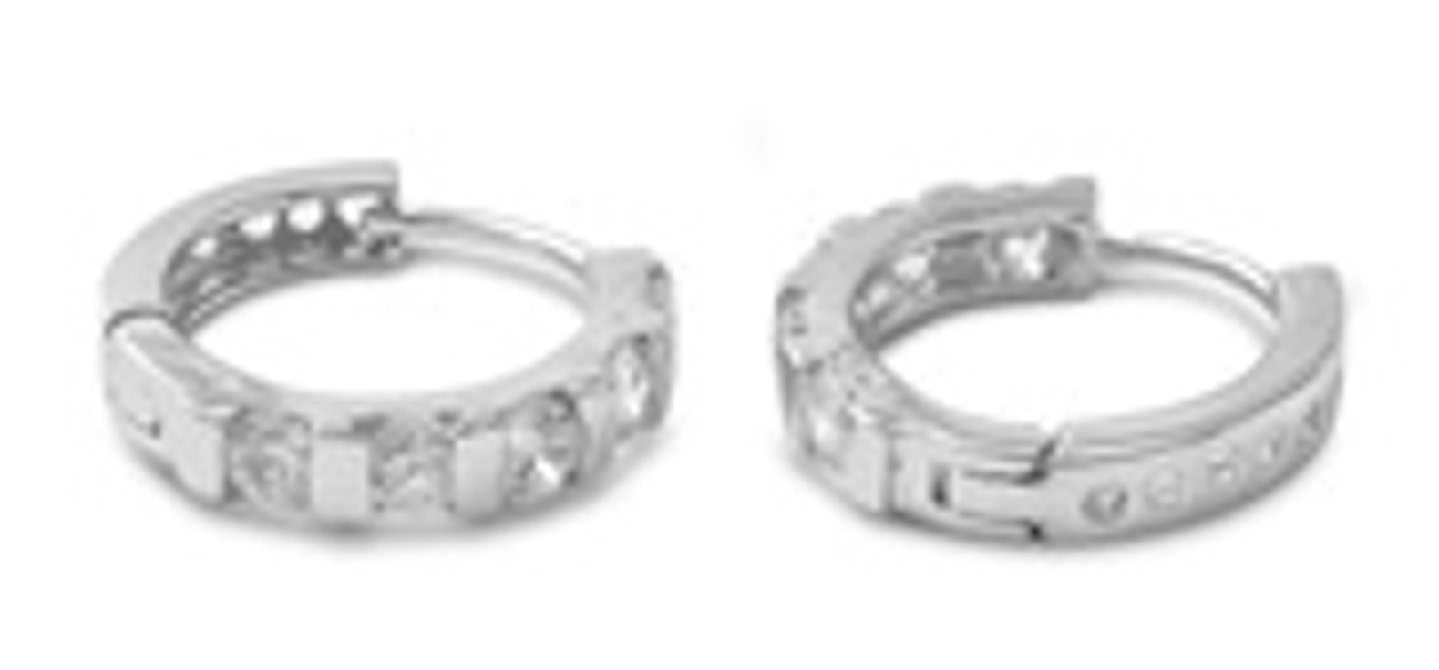 19mm Diameter Round CZ With Silver Divider Hinged Huggie Hoop Earrings