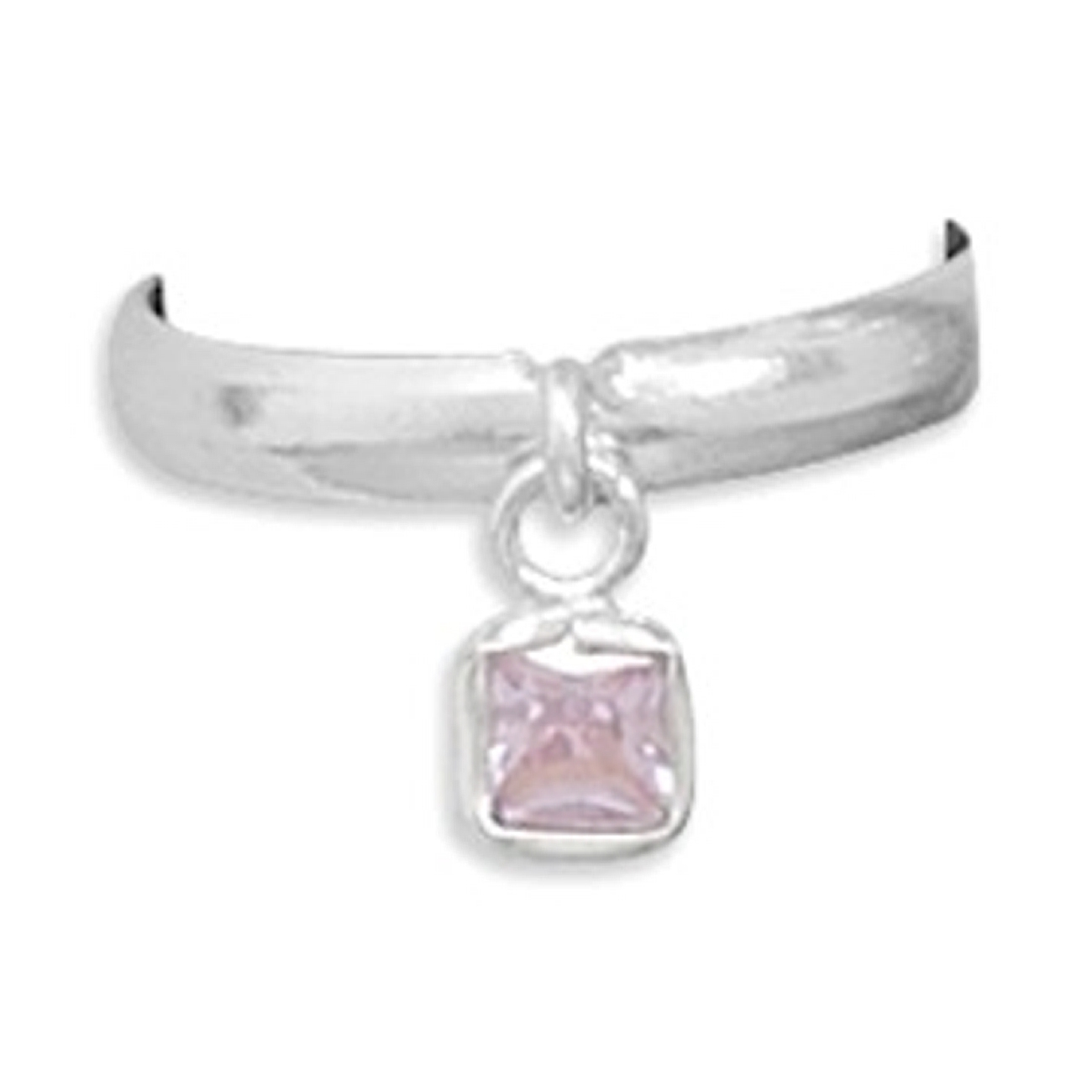 Pinkish Cubic Zirconia Dangle Charm Thin Band Adjustable Toe Ring