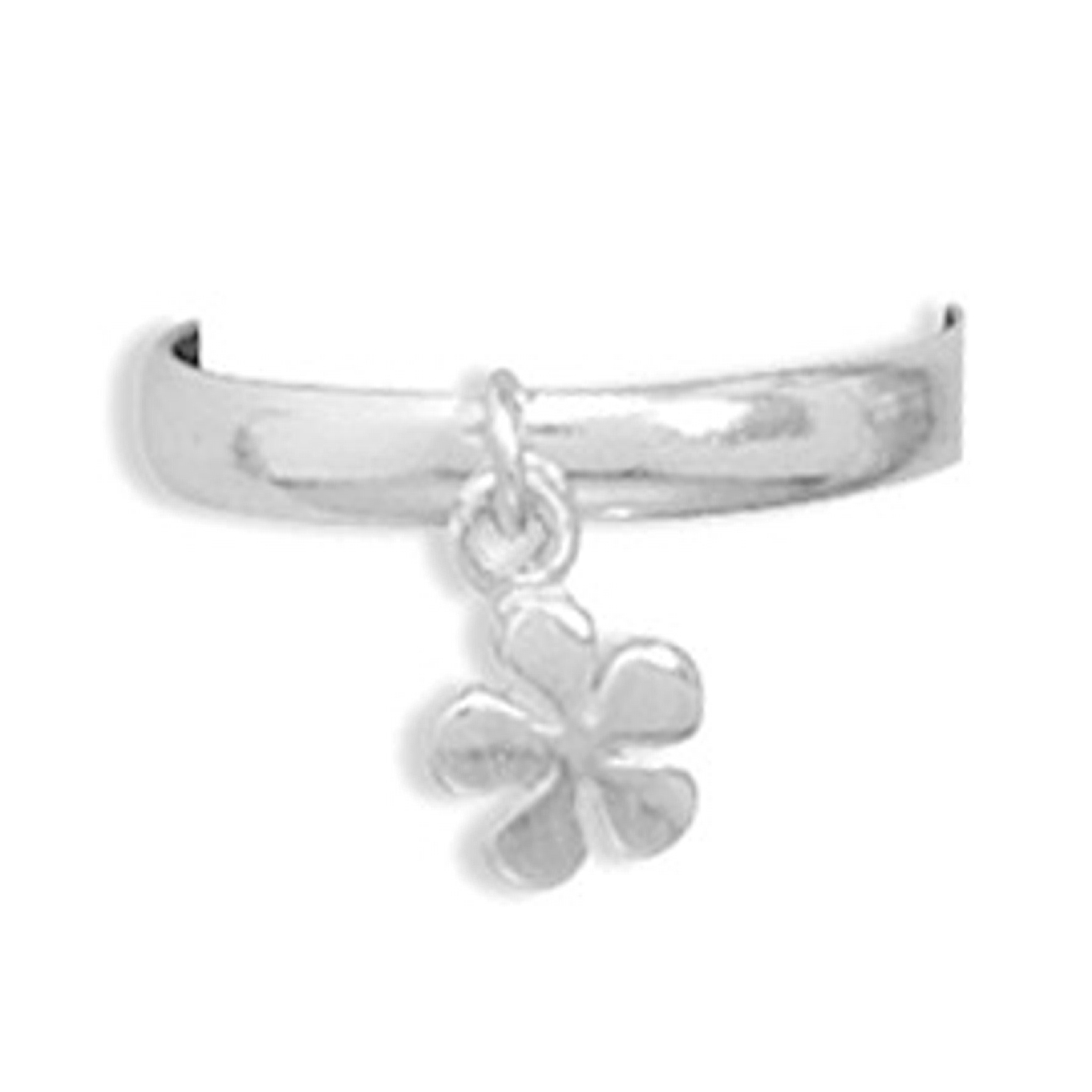 Daisy Flower Dangle Charm Thin Band Adjustable Toe Ring