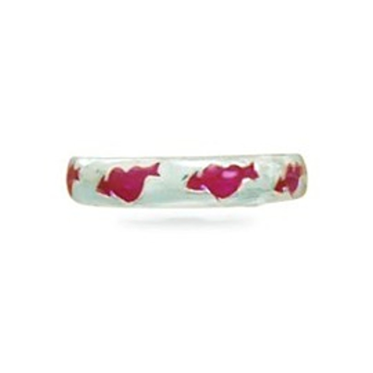 Red Enameled Arrow And Heart Thin Band Adjustable Toe Ring