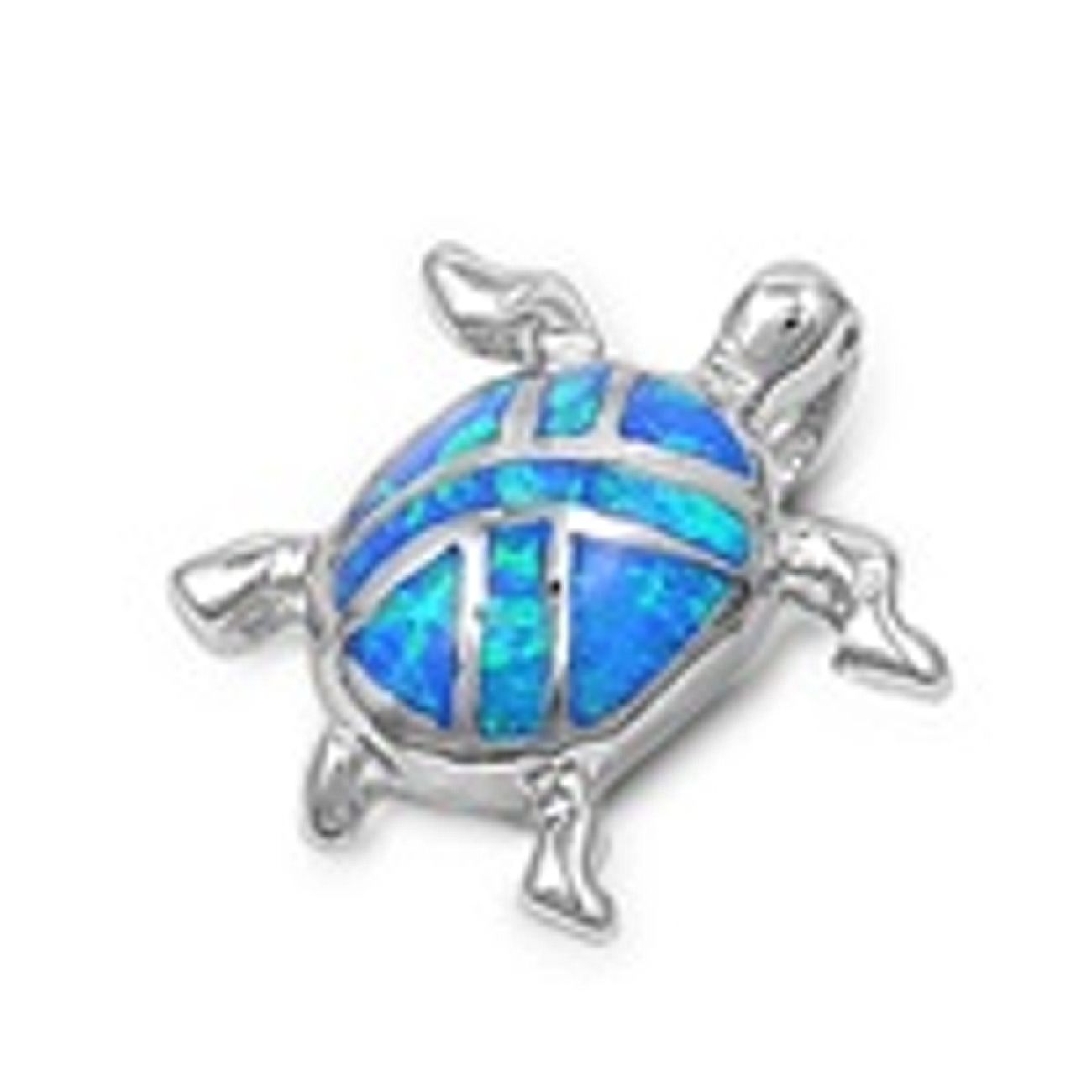Small Turtle Pendant With 'X' Design Iridescent Opal Shell