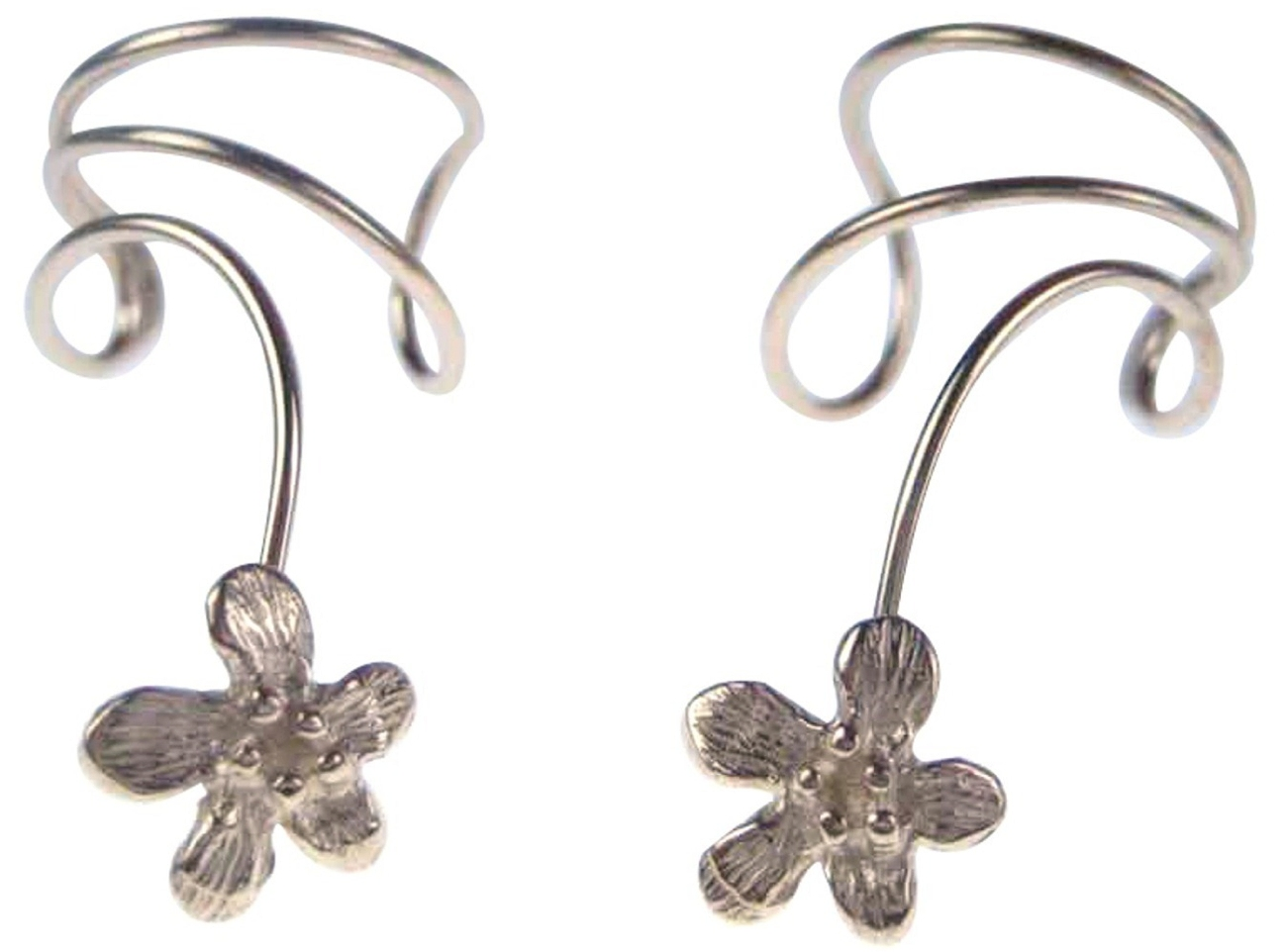 Sterling Silver Pierceless Left Right Ear Cuff Wrap Earrings Set With