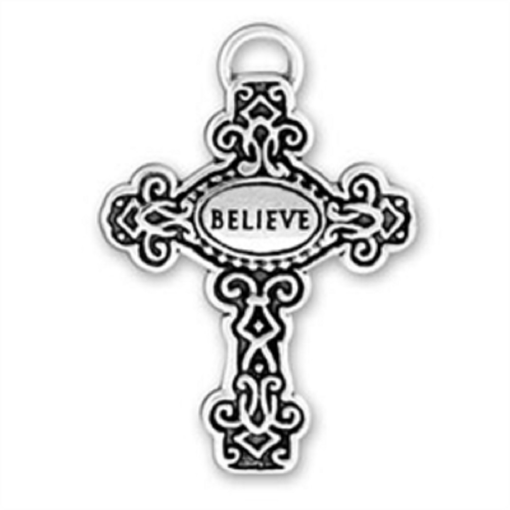 BELIEVE Detailed Scrolled Christian Cross Charm