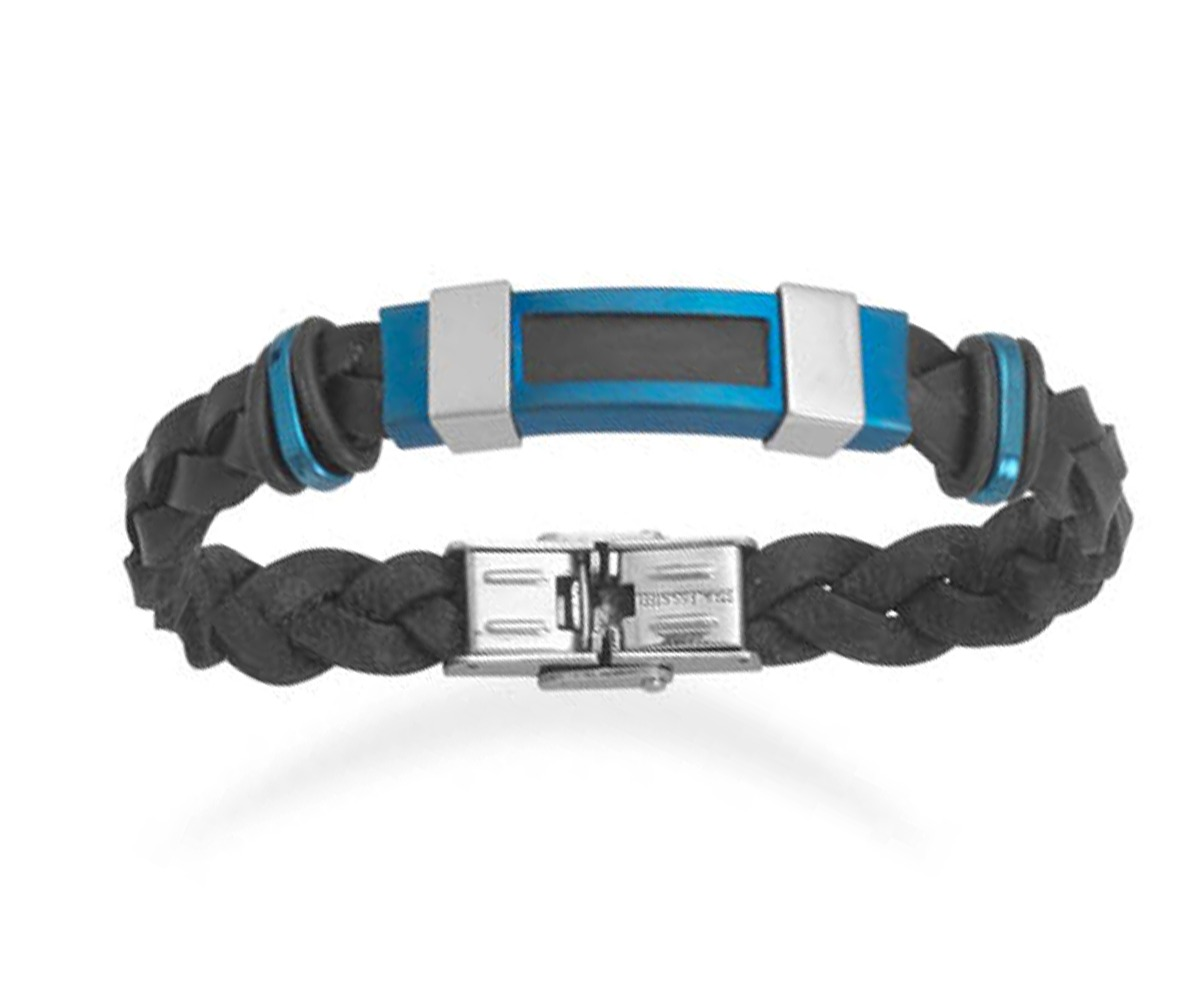 "Men's 8.5"" Stainless Steel Braided Black Leather Bracelet With Blue"