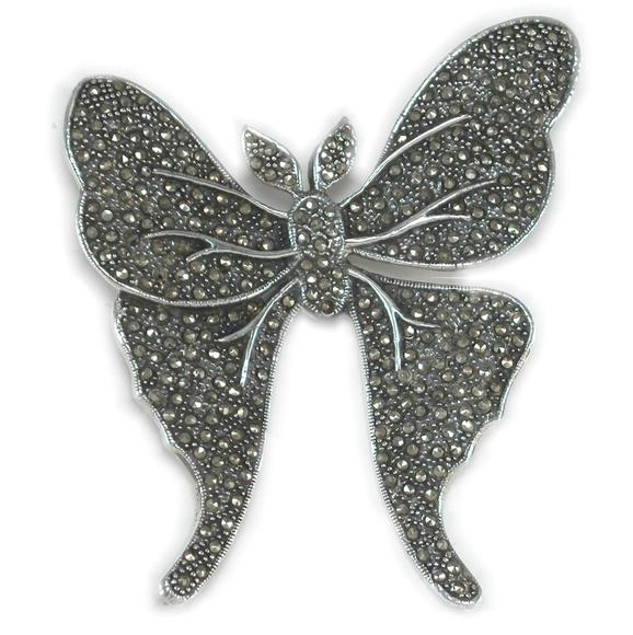 Marcasite Large Winged Luna Atlas Moth Brooch Pin
