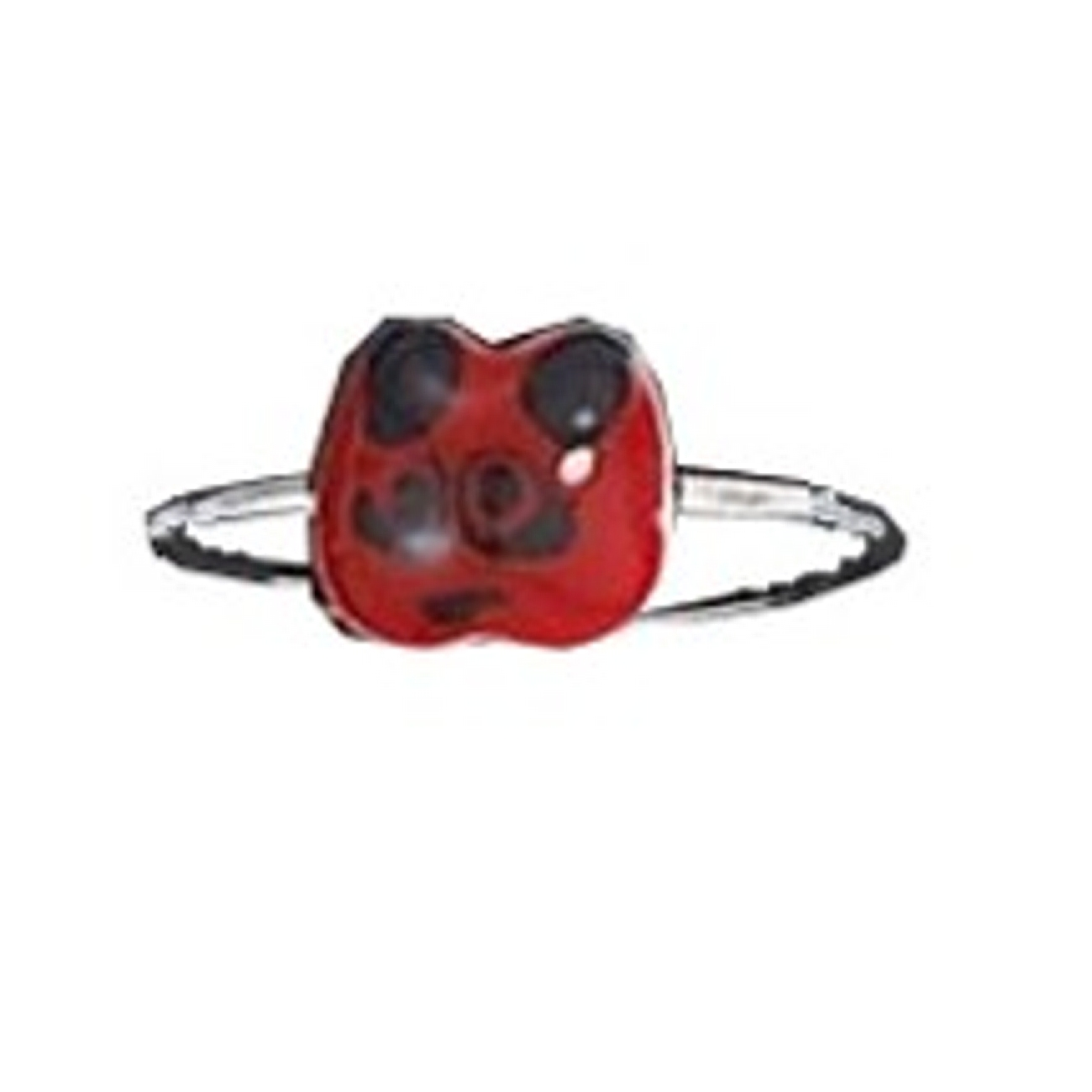 Dainty Red Black Enameled Panda Face Toe Ring