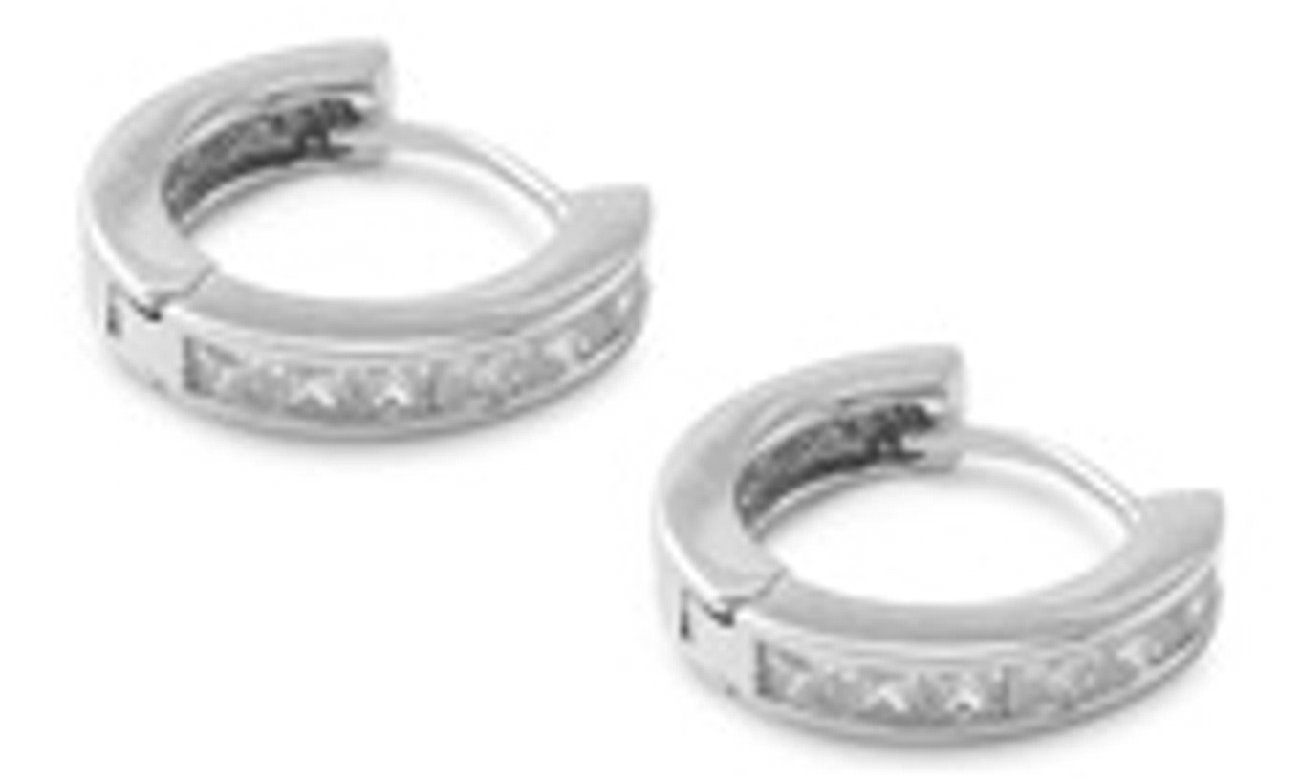 15mm Diameter Seven Cubic Zirconia Hinged Huggie Hoop Earrings