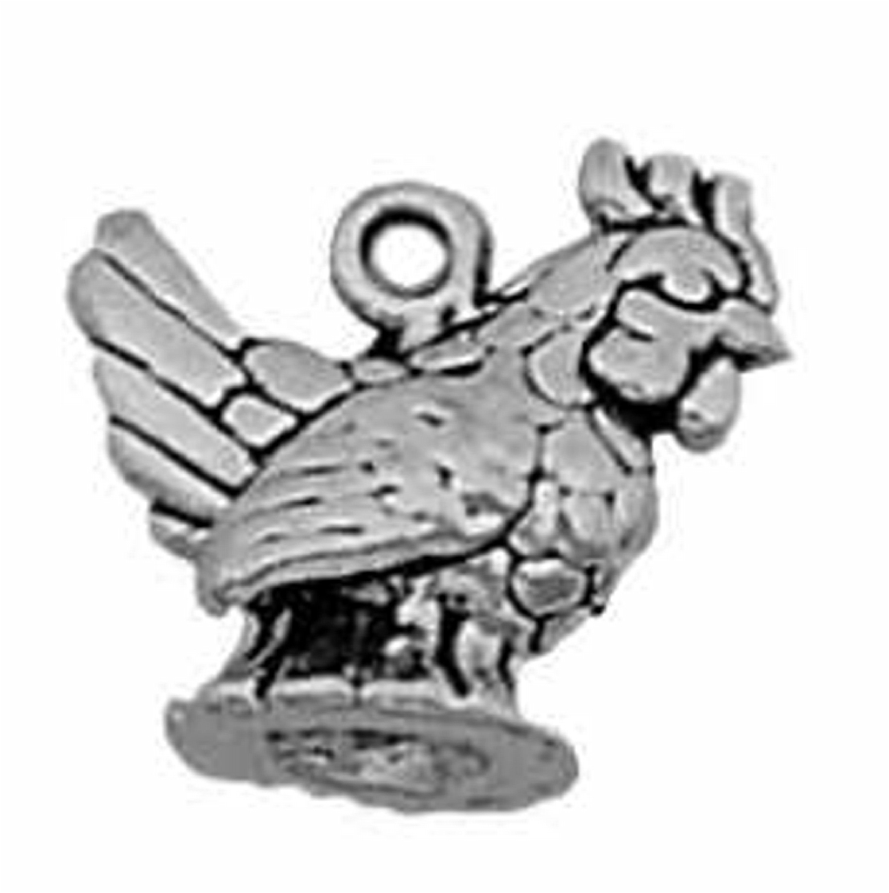 3D Mini Sitting French Hen Rooster Chicken Bird Charm