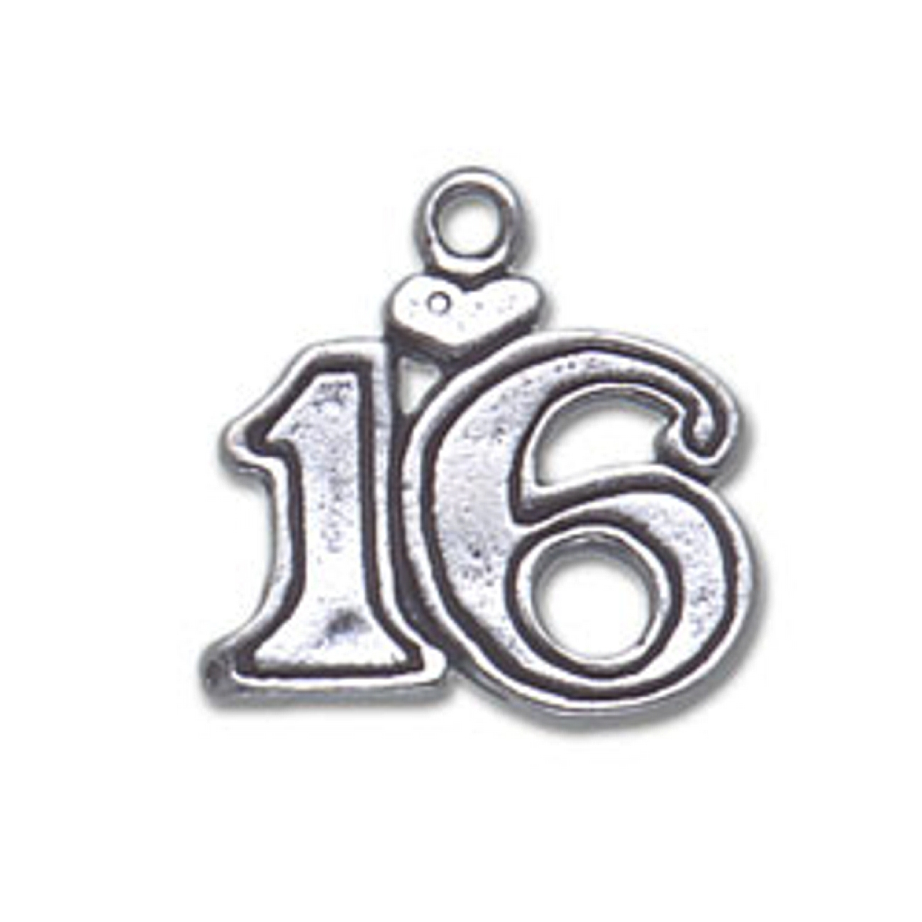 Number SIXTEEN With A Heart Charm