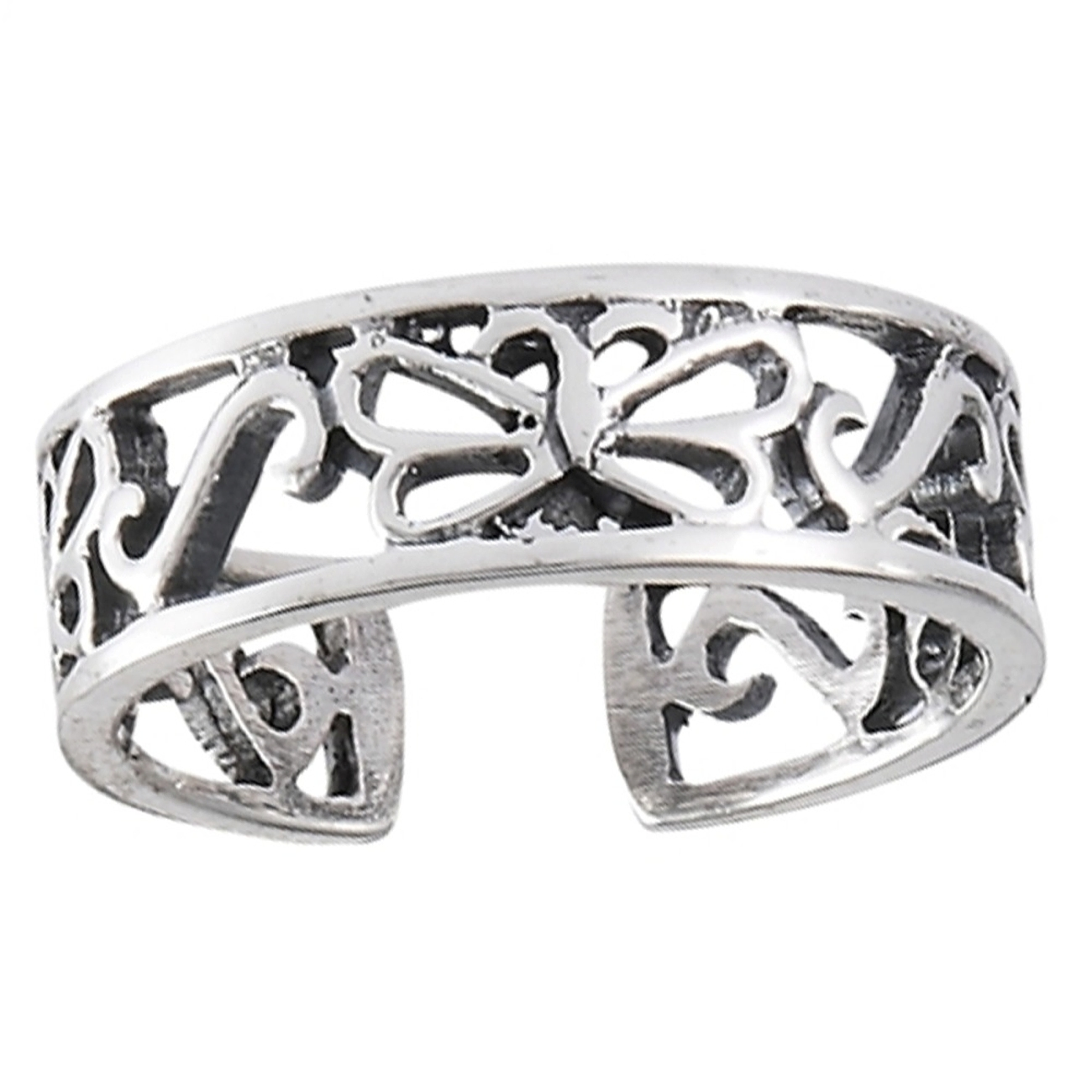 Three Butterfly Cutout Band Toe Ring